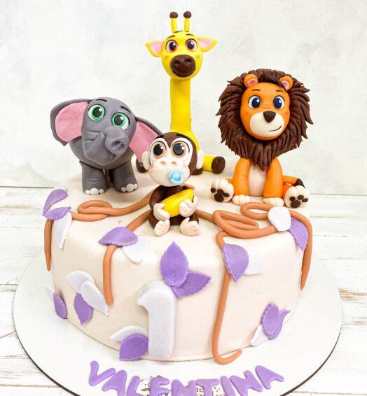 Torta Animales Selva (para niña)